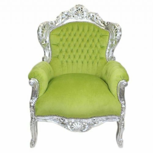 ARMCHAIR - BAROQUE STYLE ARMCHAIR SILVER & GREEN # F30MB140